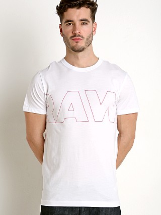 Model in white G-Star RC Kremen T-Shirt