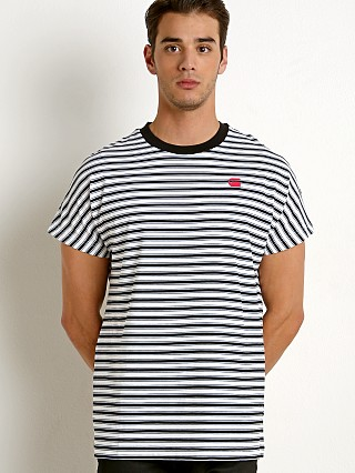 Model in white/dk black G-Star RC Collyde Stripe T-Shirt