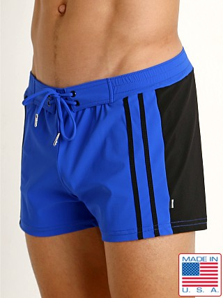 Model in cobalt/black Sauvage Moderno Two-Tone Lycra Trunk