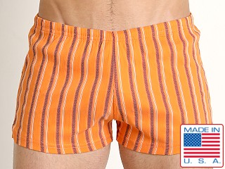 Sauvage Italian Nylon/Lycra Classic Trunk Orange Stripe