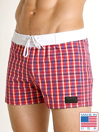 Sauvage Como Italia Plaid Swim Trunk Crimson