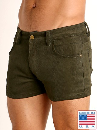 Model in army LASC Corduroy 5-Pocket Short Shorts
