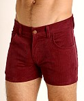 LASC Corduroy 5-Pocket Short Shorts Burgundy, view 3