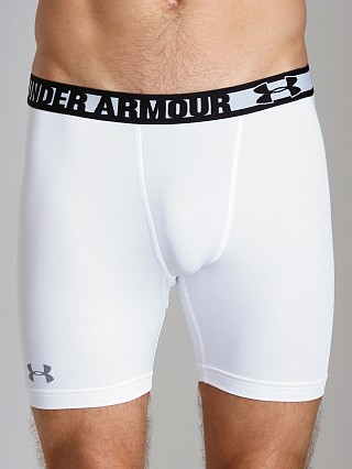 Model in white/steel Under Armour HeatGear Sonic Compression Short