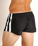 LASC Performance Mesh Running Shorts Black/White, view 4