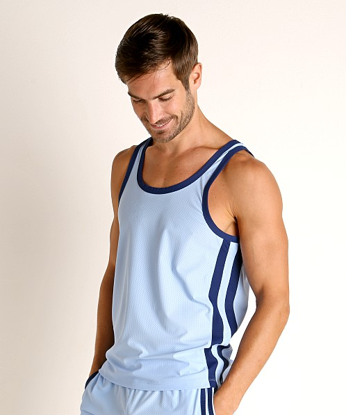 LASC Performance Mesh Tank Top Baby Blue/Navy