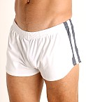 LASC Performance Mesh Running Shorts White/Grey, view 3