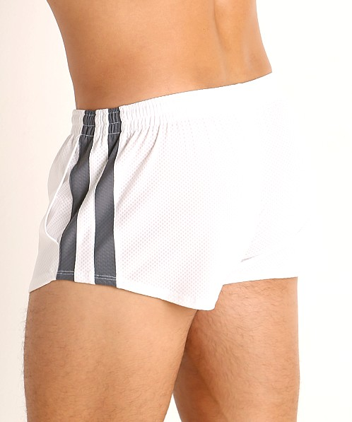 LASC Performance Mesh Running Shorts White/Grey