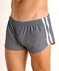 LASC Performance Mesh Running Shorts Grey/White, view 3