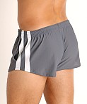 LASC Performance Mesh Running Shorts Grey/White, view 4