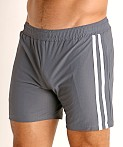 LASC Performance Mesh Active Shorts Grey/White, view 3