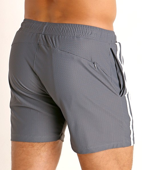 LASC Performance Mesh Active Shorts Grey/White