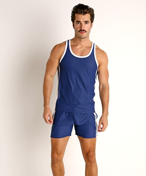 LASC Performance Mesh Tank Top Navy/White