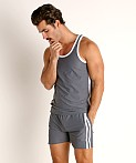 LASC Performance Mesh Tank Top Grey/White, view 2