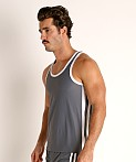 LASC Performance Mesh Tank Top Grey/White, view 3