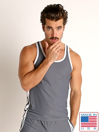 Model in grey/white LASC Performance Mesh Tank Top