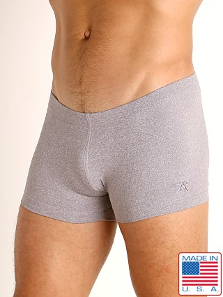 Model in silver heather LASC Workout Micro Shorts