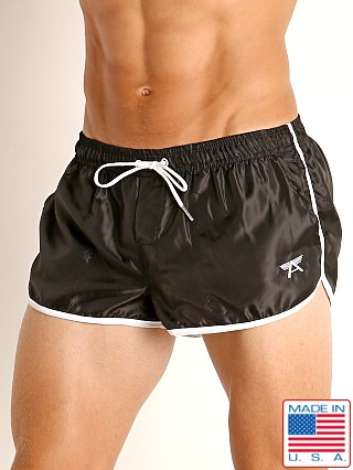 Model in black LASC Nylon Running Shorts