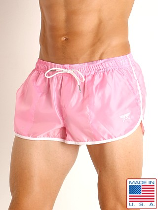 Model in pink LASC Nylon Running Shorts