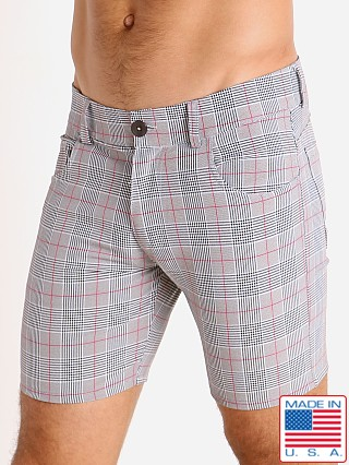 LASC London Plaid 5-Pocket Shorts Grey/Red
