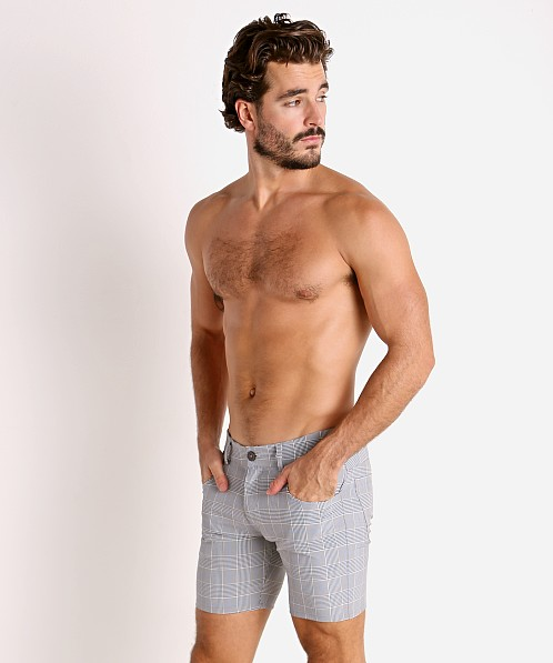 LASC London Plaid 5-Pocket Shorts Grey/Blue