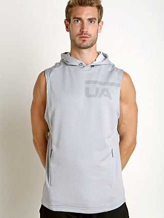 Model in steel Under Armour Tech Terry Sleeveless Hoodie