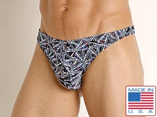 Model in prism print LASC Brazil Swim Thong Prism