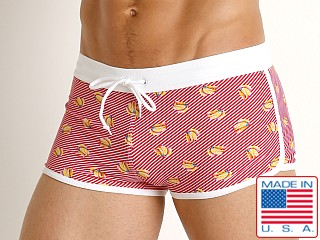 LASC American Square Cut Swim Trunks Banana