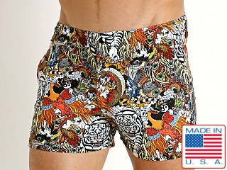 Model in china pheasant LASC Malibu Swim Shorts