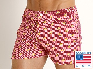 Model in bananas LASC Malibu Swim Shorts
