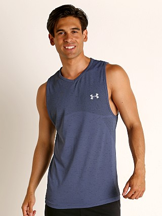 Model in blue ink/mod gray Under Armour Seamless Tank Top