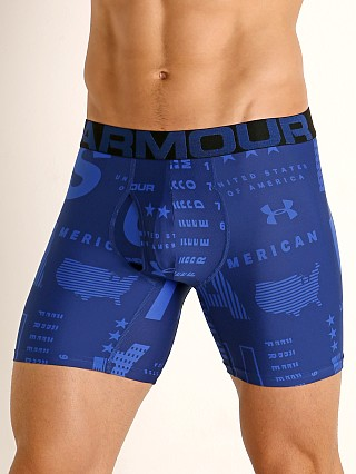 "Model in american blue/versa blue Under Armour Tech Mesh Front 6"" Boxerjock American/Versa Blue"
