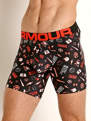 "Model in print Under Armour Tech Mesh Front 6"" Boxerjock"