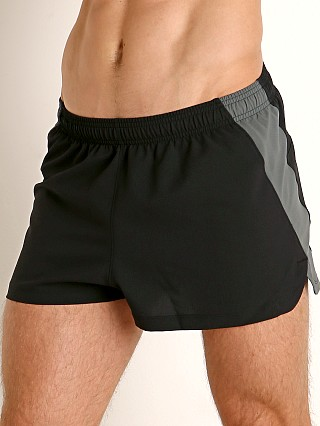 Model in black/pitch gray Under Armour Launch 2'' Running Short