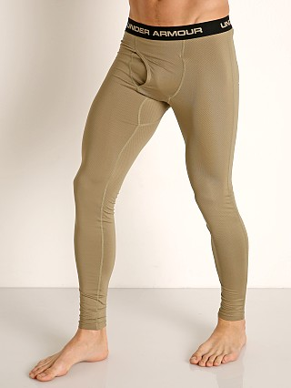 Model in federal tan Under Armour Tactical Base Layer Leggings