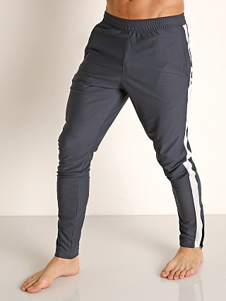 Model in stealth gray Under Armour Sportstyle Pique Track Pant