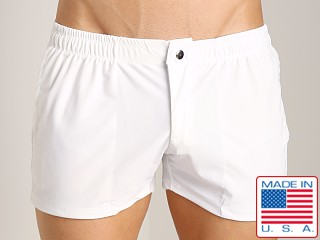 LASC Solid Nylon Swim Trunk White