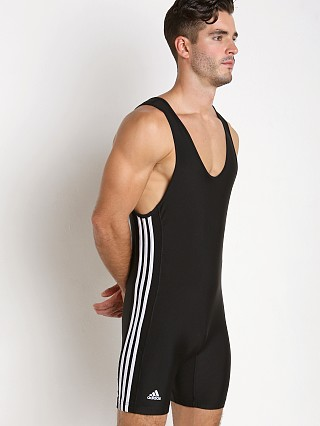 Model in black/white Adidas 3 Stripe Wrestling Singlet