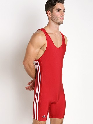 Model in red/white Adidas 3 Stripe Wrestling Singlet