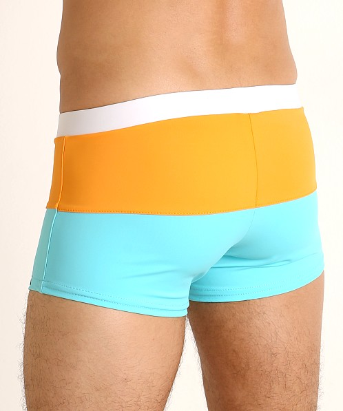 Sauvage Fitted Square Cut Swim Trunk Turquoise/Ornage