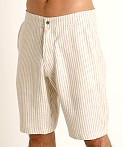Sauvage Linen Resort Shorts Cream Stripe, view 3