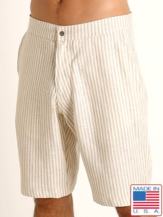 Sauvage Linen Resort Shorts Cream Stripe