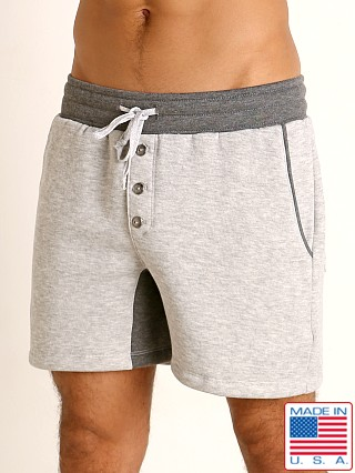 Model in grey/charcoal LASC Fleece Crotch Gusset Drawstring Shorts