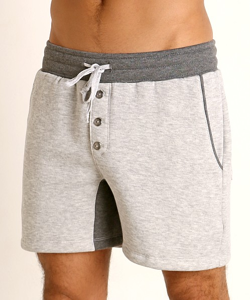 LASC Fleece Colorblock Drawstring Shorts Grey/Charcoal