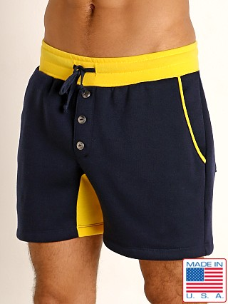 Model in navy/gold LASC Fleece Crotch Gusset Drawstring Shorts