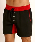 LASC Fleece Colorblock Drawstring Shorts Black/Red, view 3