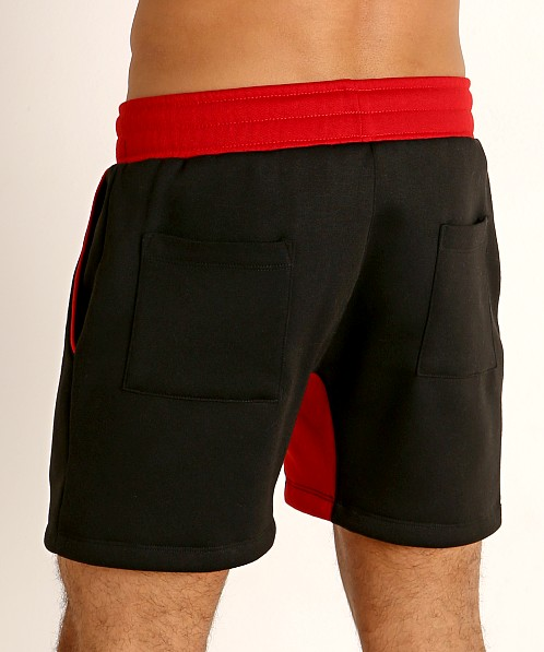 LASC Fleece Colorblock Drawstring Shorts Black/Red