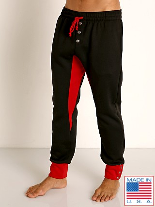 Model in black/red LASC Fleece Crotch Gusset Drawstring Pant