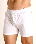 LASC Zippered Pockets Stretch Woven Gym Shorts White, view 3