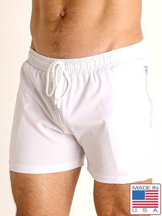 Model in white LASC Zippered Pockets Stretch Woven Gym Shorts